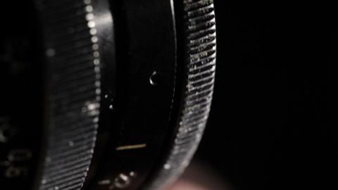 Vintage film lens. Aperture ring. Macro shot Stock Video Footage