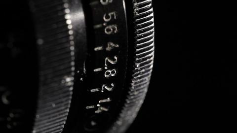 Vintage film lens. Aperture ring. Macro shot Footage