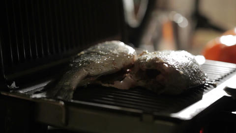Closing the grill with fish Stock Video Footage
