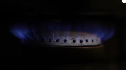 Gas burning from a kitchen gas stove. Macro shot Stock Video Footage