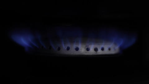 Gas Burning From A Kitchen Gas Stove. Macro Shot stock footage