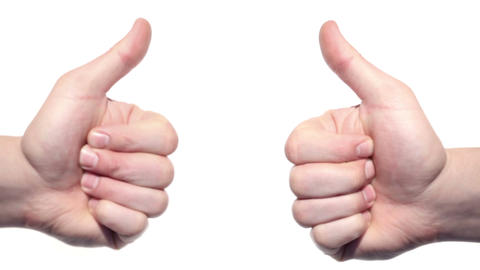 Two thumbs up isolated on a white background Stock Video Footage