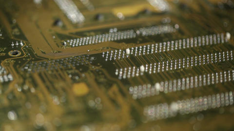 High technology background, computer circuit board. Focus pulling macro shot Footage