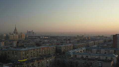 Dawn In The City From High Point Of View. Time Lapse With Panning stock footage