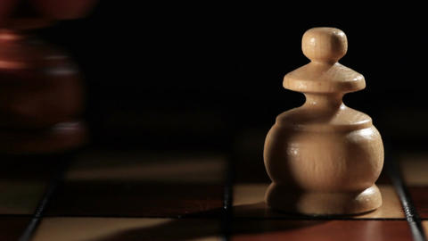 Black and white pawns on the chess board. Starting game.... Stock Video Footage