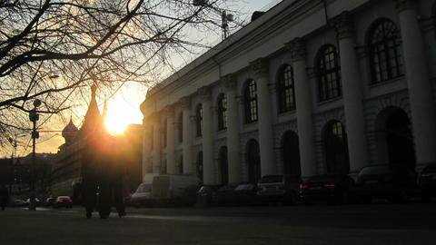 City sunset. Moscow Varvarka street. Time lapse with fast... Stock Video Footage