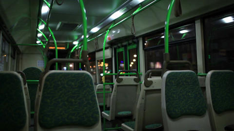View inside the night bus Stock Video Footage