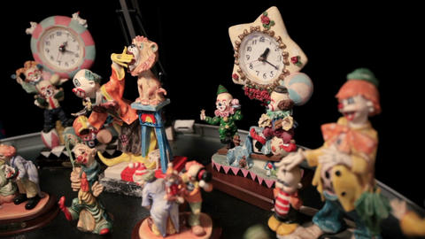 Clown and clock Stock Video Footage