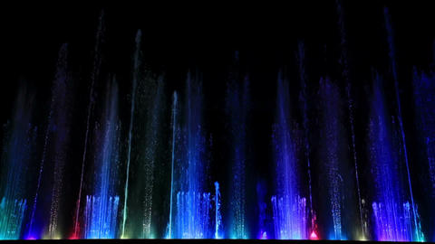 Dancing  Beautiful Colorful Fountain. Wide Low Angle Shot. stock footage
