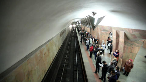 Train arriving at the Marksistskaya metro station Stock Video Footage