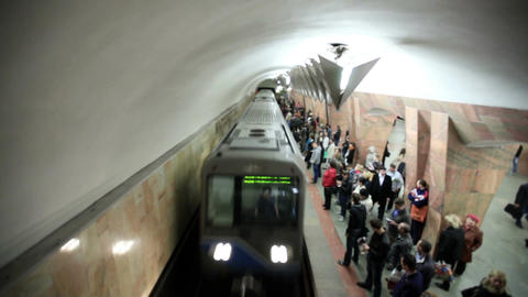 Train arriving at the Marksistskaya metro station Footage