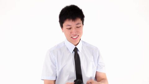 Young asian businessman pulling out Footage