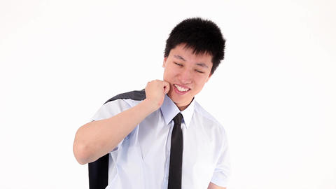 Young asian businessman pulling out Stock Video Footage