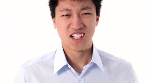 Asian young man showing two thumbs up gesture Stock Video Footage