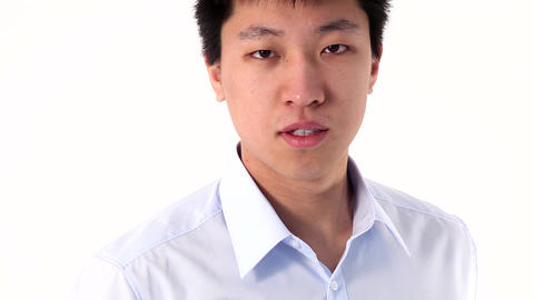 Asian young man showing thumb up Stock Video Footage