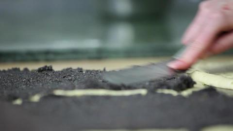 Baker filling in Poppy-Seed-Stollen Footage