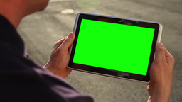 Blank Green Screen Tablet PC Stock Video Footage