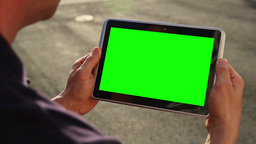 Blank Green Screen Tablet PC stock footage