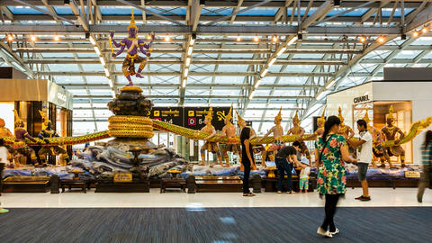 Travelers in Bangkok Suvarnabhumi Airport - Timela Stock Video Footage