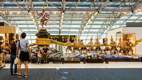 Travelers in Bangkok Suvarnabhumi Airport - Timela Footage
