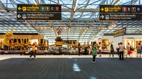 Bangkok Suvarnabhumi Airport - Timelapse Stock Video Footage
