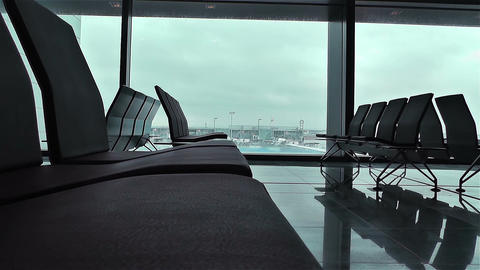 Airport Terminal Waiting Hall 2 empty Stock Video Footage