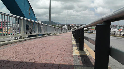 Bridge Fences and Pavement Lowangle 1 Stock Video Footage