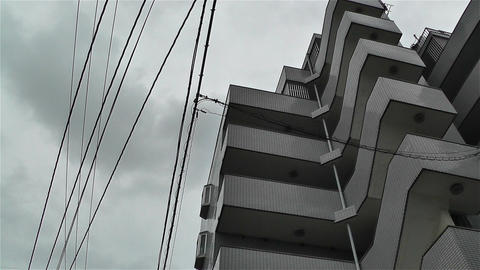 Buildings in Okinawa Islands Lowangle Pan 2 Stock Video Footage