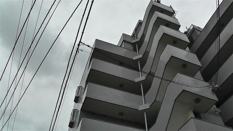 Buildings in Okinawa Islands Lowangle Pan 2 Stock Video Footage
