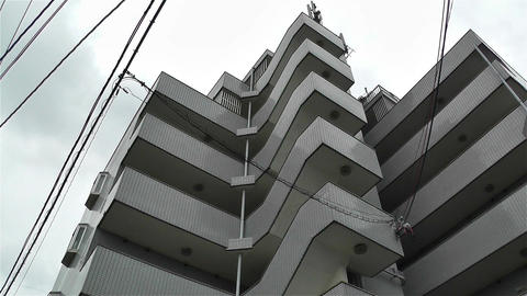 Buildings in Okinawa Islands Lowangle Pan 2 Footage