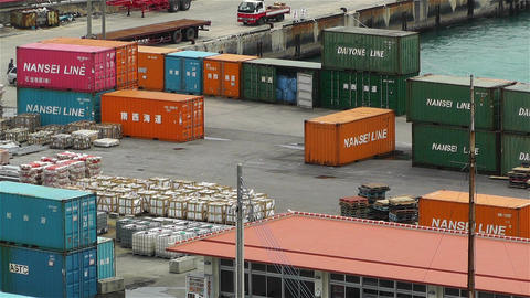 Containers in Industrial Small Port Okinawa Islands Japan 2 Stock Video Footage