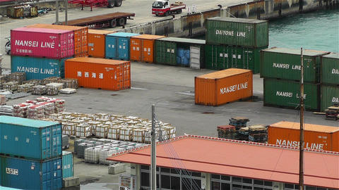 Containers in Industrial Small Port Okinawa Islands Japan 2 Footage