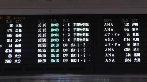 Japanese Domestic Airport Timetable at Haneda Tokyo handheld Stock Video Footage