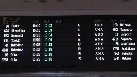 Japanese Domestic Airport Timetable at Haneda Tokyo handheld Footage