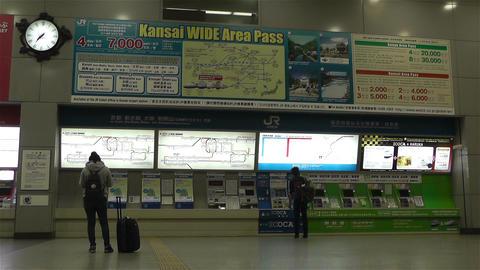 Kansai Airport Railway Station Osaka Japan 6 ticket machines Stock Video Footage
