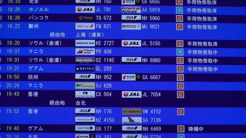 Kansai Airport Timetable Osaka Japan 2 Stock Video Footage