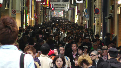 Namba District Osaka Japan 42 crowd Stock Video Footage