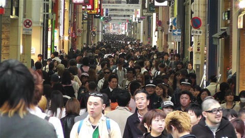 Namba District Osaka Japan 42 crowd Footage