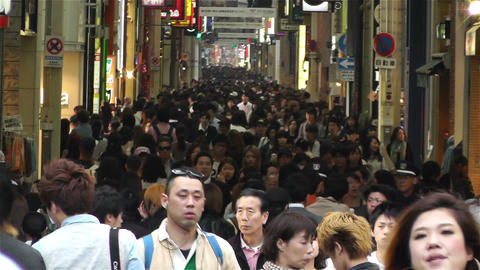 Namba District Osaka Japan 42 crowd Stock Video Footage