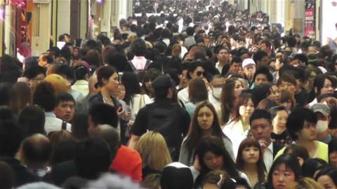 Namba District Osaka Japan 44 crowd Stock Video Footage