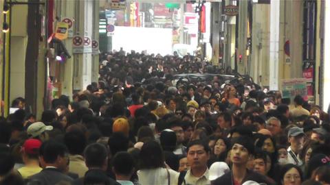 Namba District Osaka Japan 46 crowd slowmotion Stock Video Footage