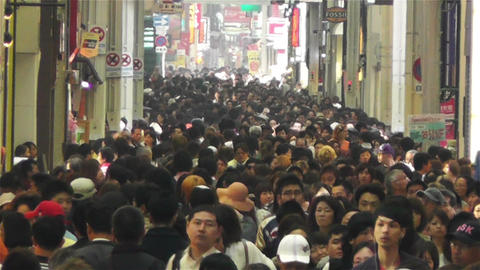 Namba District Osaka Japan 46 crowd slowmotion Footage
