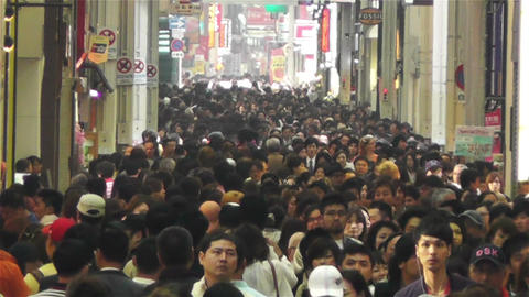 Namba District Osaka Japan 46 crowd slowmotion Stock Video Footage