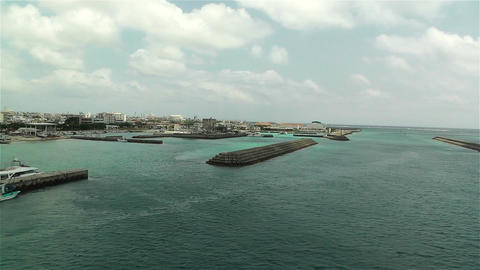 Okinawa Islands Japan Breakwater 22 pan breakwater Stock Video Footage