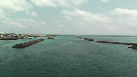 Okinawa Islands Japan Breakwater 22 pan breakwater Stock Video Footage
