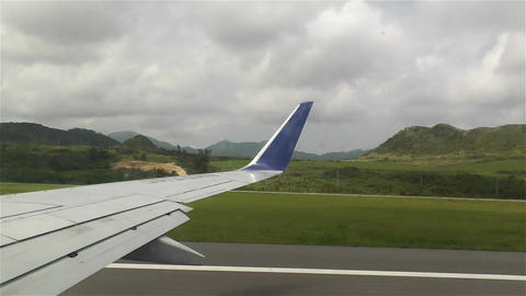 Plane Taking Off Okinawa Islands fast motion Stock Video Footage