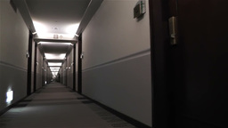 Scary Hotel Corridor 2 pan Stock Video Footage