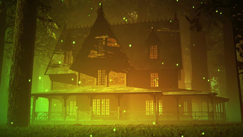 Scary House in Deep Forest 3 fireflies Stock Video Footage