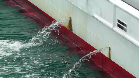 Water Comes Out From Ship 1 Stock Video Footage