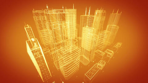 Architectural blueprint of contemporary buildings, gold tint Animation